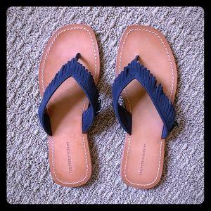 COPY - Frye Fringe Flip Flop Sandals (Navy)